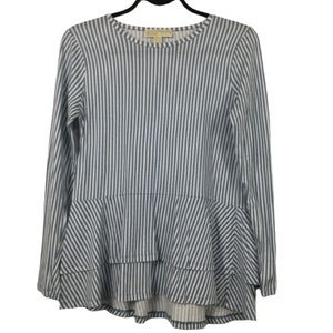 Michael Kors Long Sleeve Striped Tiered Top